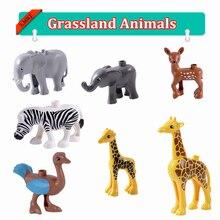 Kids Toys Bricks Building-Blocks Elephant Giraffe Zebra Children Animals DIY for Gifts