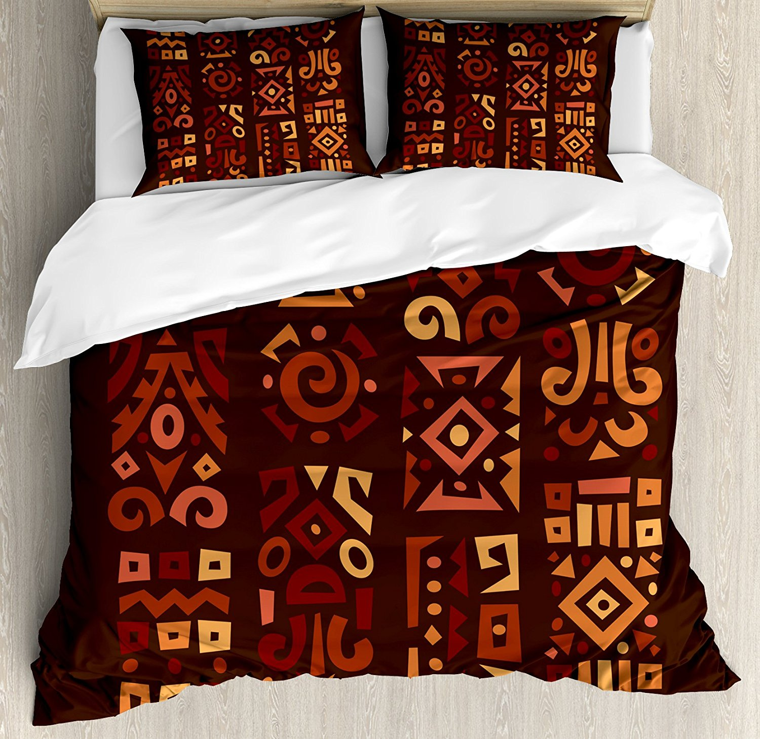 Earth Tones Duvet Cover Set Queen Size Doodle Style Graphic African Figures in Four Vertical Borders Ethnic Accents Multicolor ...