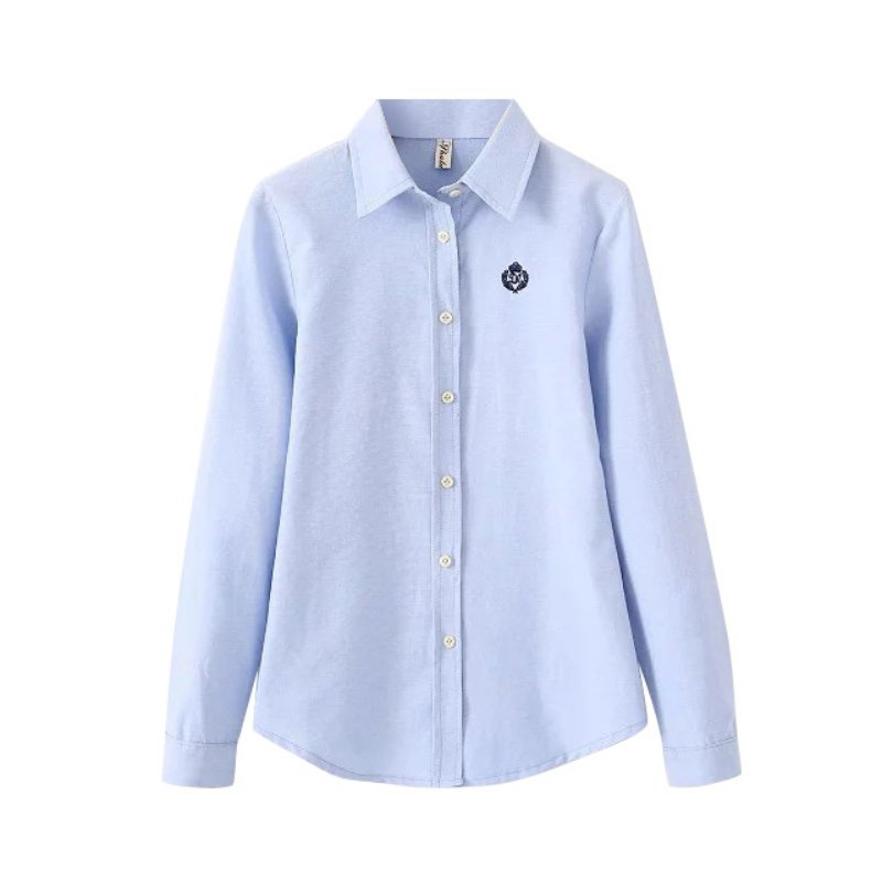 312a45fc9804f4 Fashion Women Elegant Blouse Embroidery Blue White Pink Office Blouses Long  Sleeve Shirt Work Wear Casual Slim Tops Plus Size S3-in Blouses & Shirts  from ...