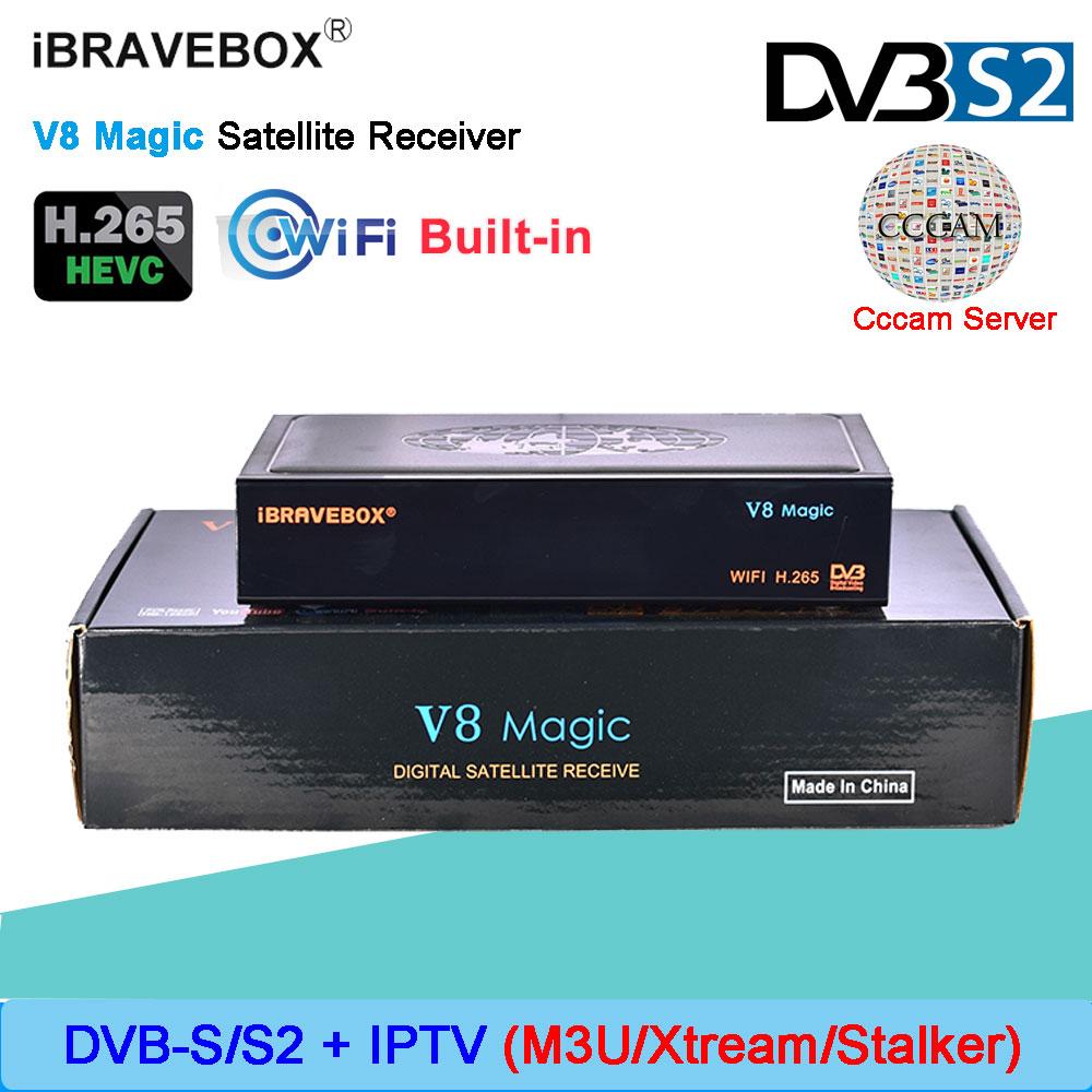 iBRAVEBOX V8 Magic DVB S S2 Satellite receiver built in WIFI MT7601 support 1 Year European