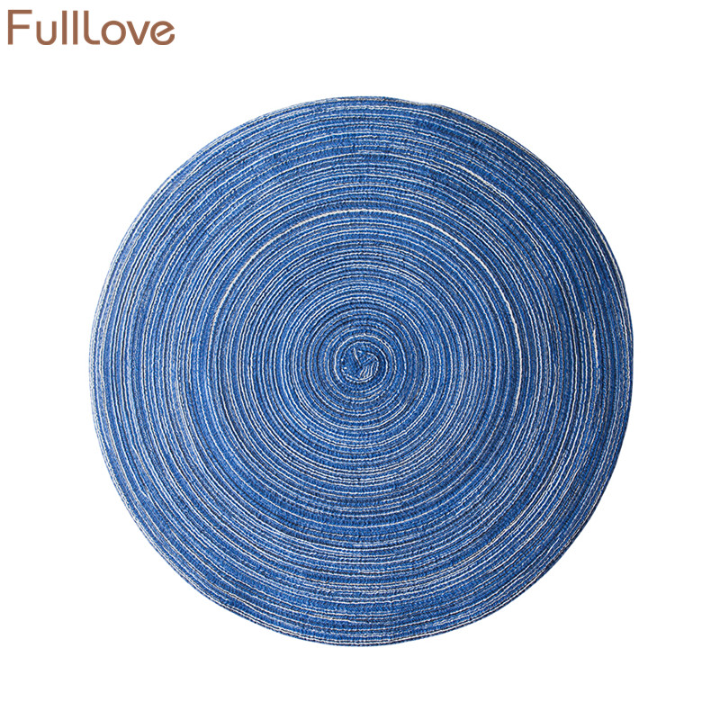 FullLove 2PCS/Set 2018 New Ramie Fabric Round Placemat Coasters Kitchen Table Mat Insulation Coffee Tea Mug Pads Home Textile