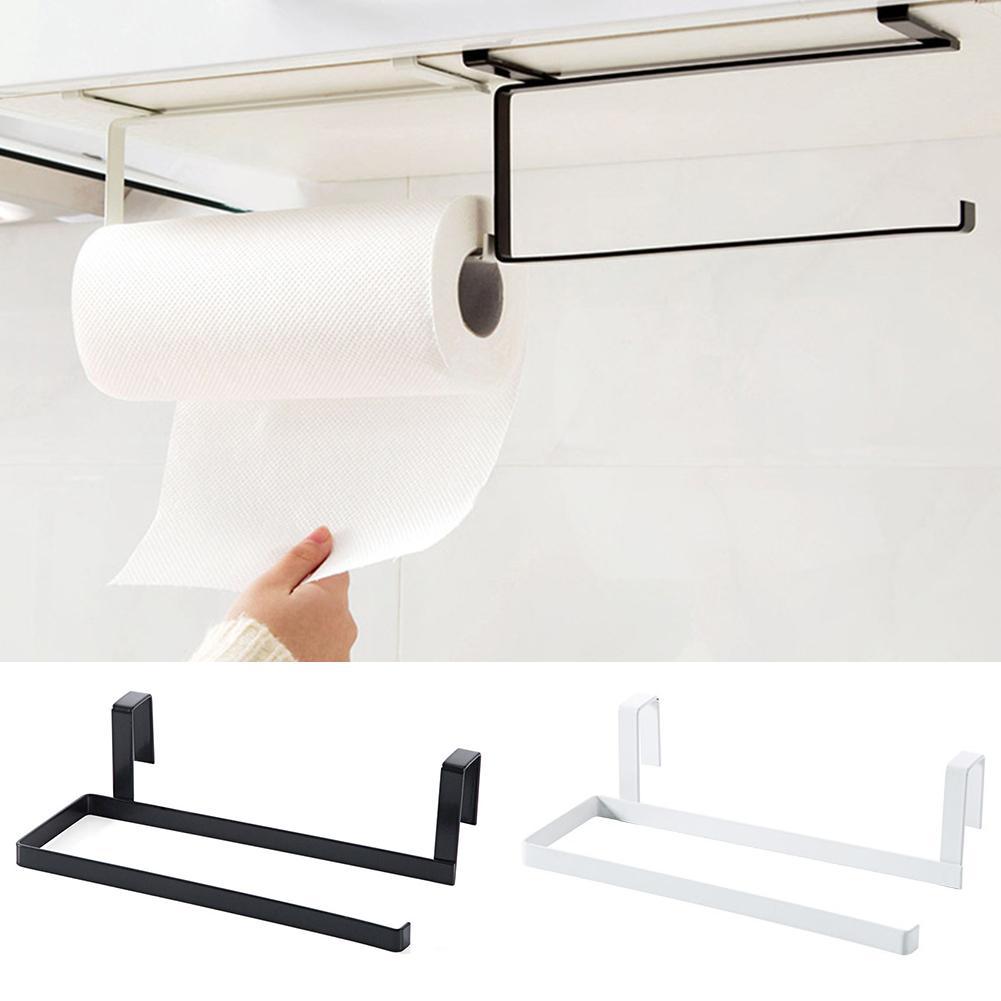 Towel Hanger Rack Kitchen Roll Paper Iron 1pc Cabinet Door Under Shelf