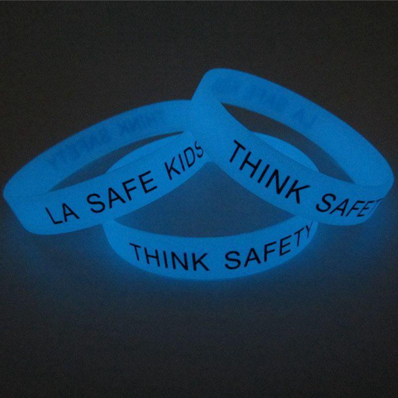 6 pcs/Lot New Trendy Luminous Silica Gel Wristband, Generic Silicon Bracelet with Logo, LA SAFE KIDS Printed Band