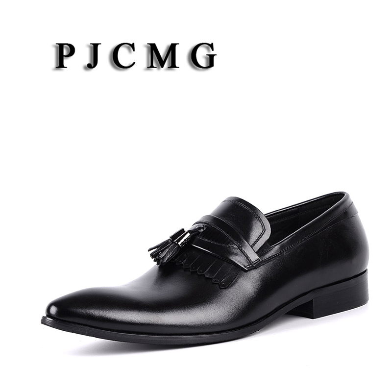 PJCMG Spring/Autumn Black/Red Oxfords Mens Dress Slip-On Genuine Leather Wedding Mens Business Office Shoes With TasselPJCMG Spring/Autumn Black/Red Oxfords Mens Dress Slip-On Genuine Leather Wedding Mens Business Office Shoes With Tassel