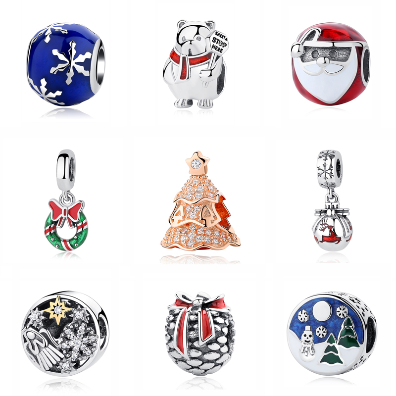 Original 100% 925 Sterling Silver Bead Charm Christmas Tree Santa Wreath Pendant Charms Fit Pandora Bracelets Women Diy Jewelry removable christmas wreath wall sticker xmas wreath wallpaper