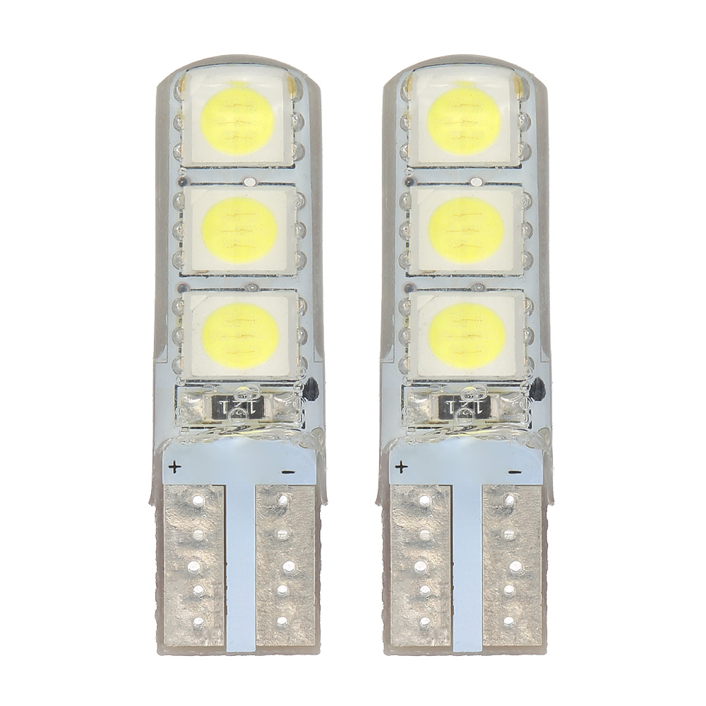 T10 5050 6SMD DC 12V Auto Automobile Width Light Car License Light Reading Lamps White Light 2PCS Car Accessories