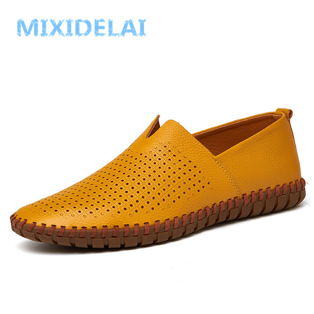 MIXIDELAI Genuine Cow leather Mens Loafers Fashion Handmade Moccasins Soft Leather Blue Slip On Men's Boat Shoe PLUS SIZE 38~48 5