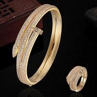Luxury Brand Copper Jewelry Sets 18K Gold Bangles Rings Sets Dubai Jewelry AAA Zircon Bracelet Anel