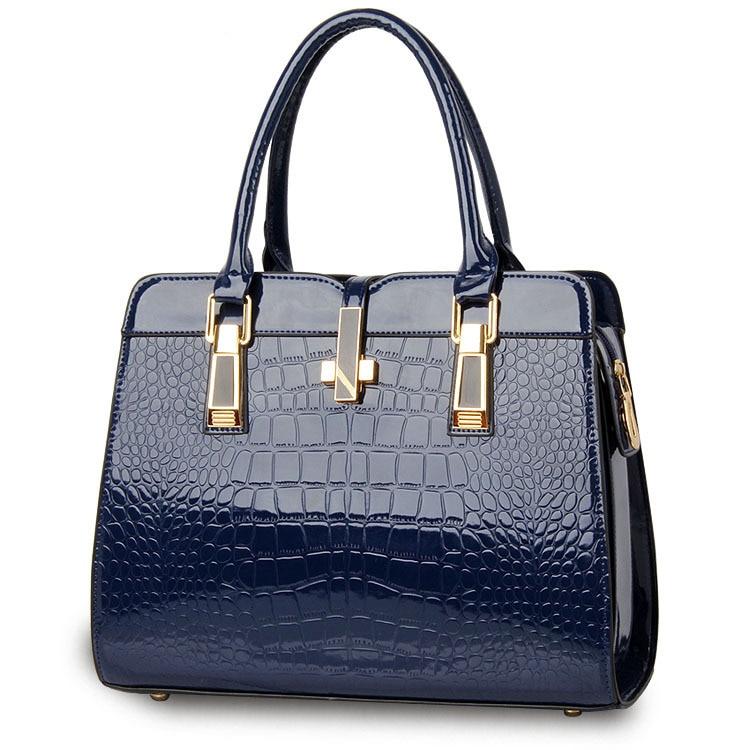 2018 Solid Color Elegant Alligator Patent Leather Women Handbag Big Women's Shoulder Bags Cross Lock Design Lady Tote Handbags
