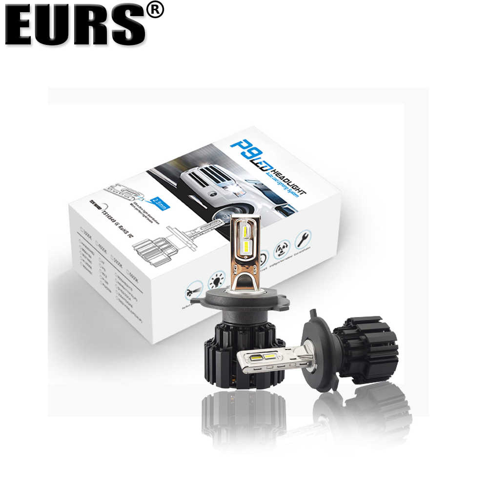 EURS Super bright P9 Car Led Headlight Bulb H4 LED H7 H11 H8 H9 9005 HB3 9006 HB4 H15 100W 13600lm headlamp 6000K Auto headlamp