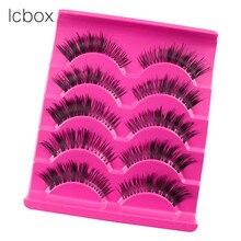 LCBOX new 5 Pairs Black Cross False Eyelash Soft Long 100% Hand Made Makeup Eye Lash Makeup Extension beauty kit