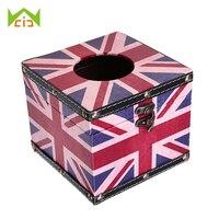 Vintage Legno Tovagliolo di Carta Scatole Americana Bandiera Britannica Del Viso Tissue Box Cover Holder Home Office Car Storage Box Decorativa