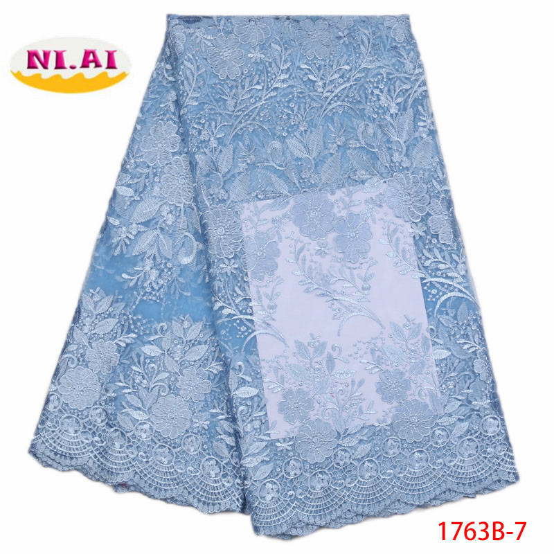 Sky Blue African Lace Fabric 2018 High Quality French Lace Fabric For wedding Dress Bridal Nigerian