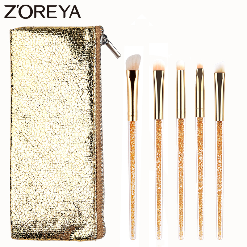 Zoreya Brand 5Pcs Concealer Gold Crystal Make up brush Set Beauty EyeShadow Blending Foundation Face Makeup Brushes Cosmetic Kit new store free shipping beauty and the beast rose gold makeup brush cosmetic brush woman gift eyeshadow contour concealer