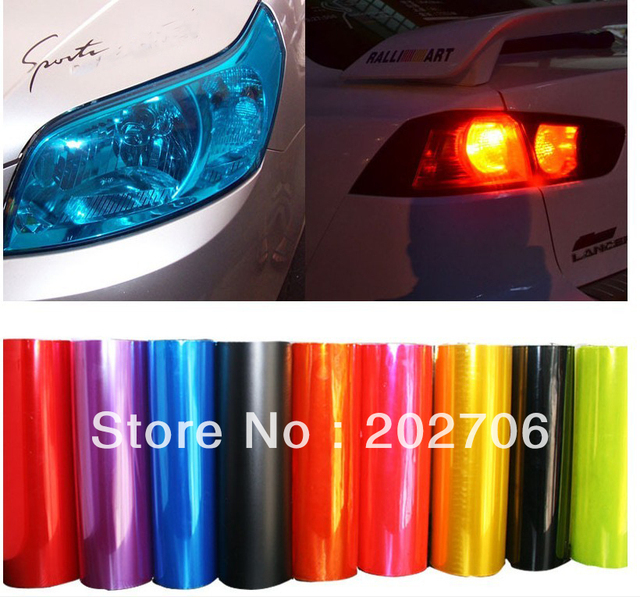 High quality 0.3x10M Car Exterior Head Fog Light lamp/headlight taillight Moulding Protection film Foil for 14colours