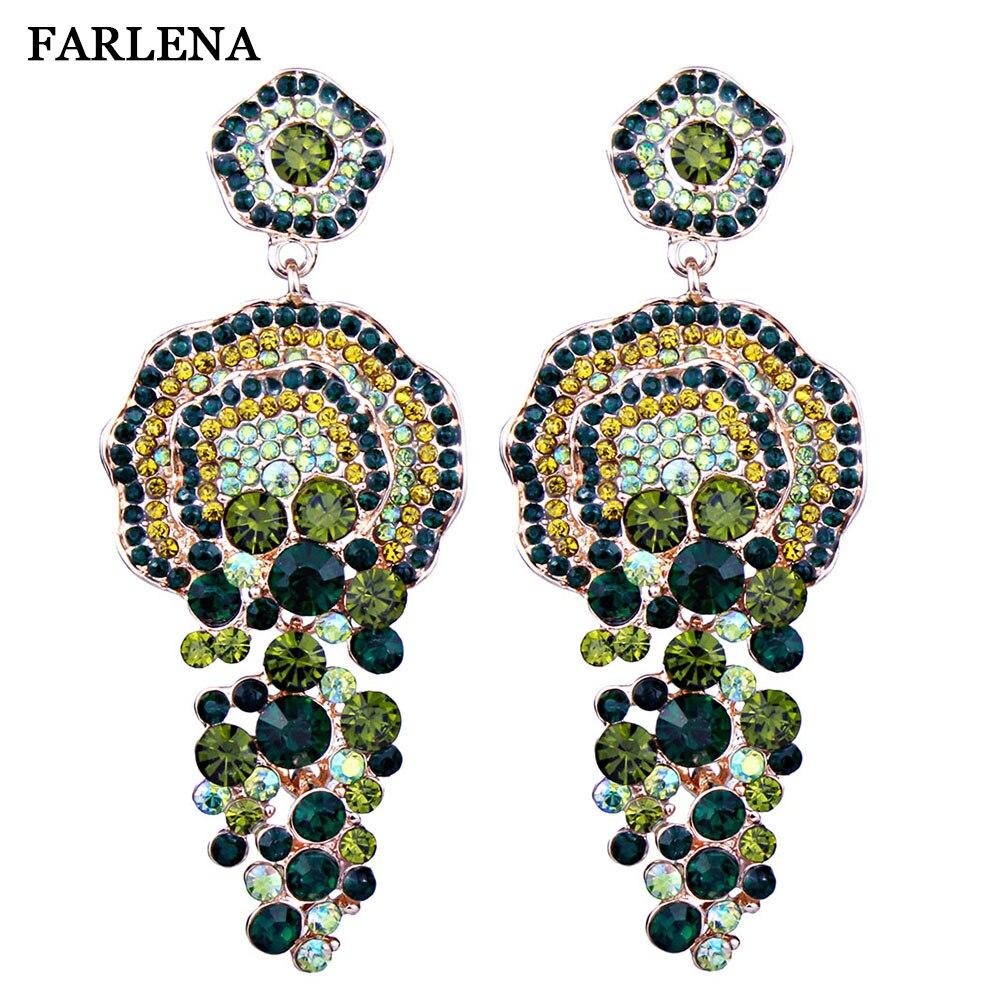 FARLENA Bijoux De Luxe Pleine Strass Grandes Boucles D'oreille de Gland pour les Femmes De Noce Accessoire Longue Boucles D'oreilles En Cristal