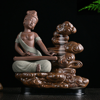 Apsara ceramic incense cone aromatic fragrance Guqin back view of incense smoke ceremony hot waterfall