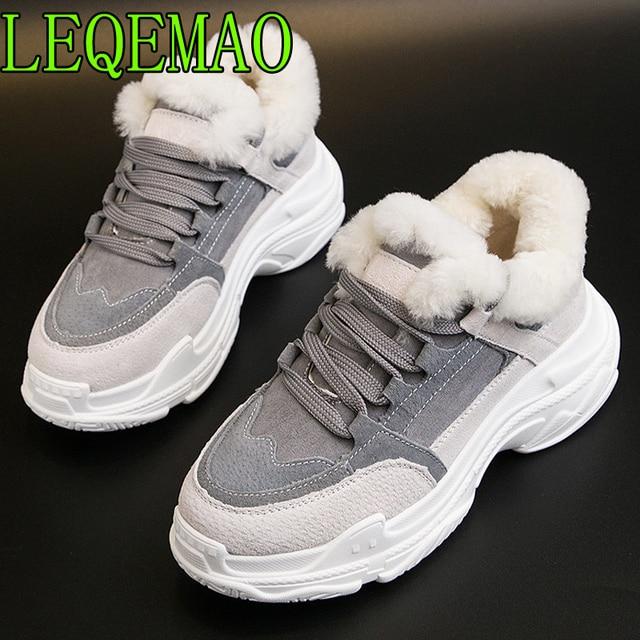 Shoes Winter Warm Platform Woman Snow Boots Plush Female Casual Sneakers Genuine Leather Female Snowboots Warm Shoes Fur