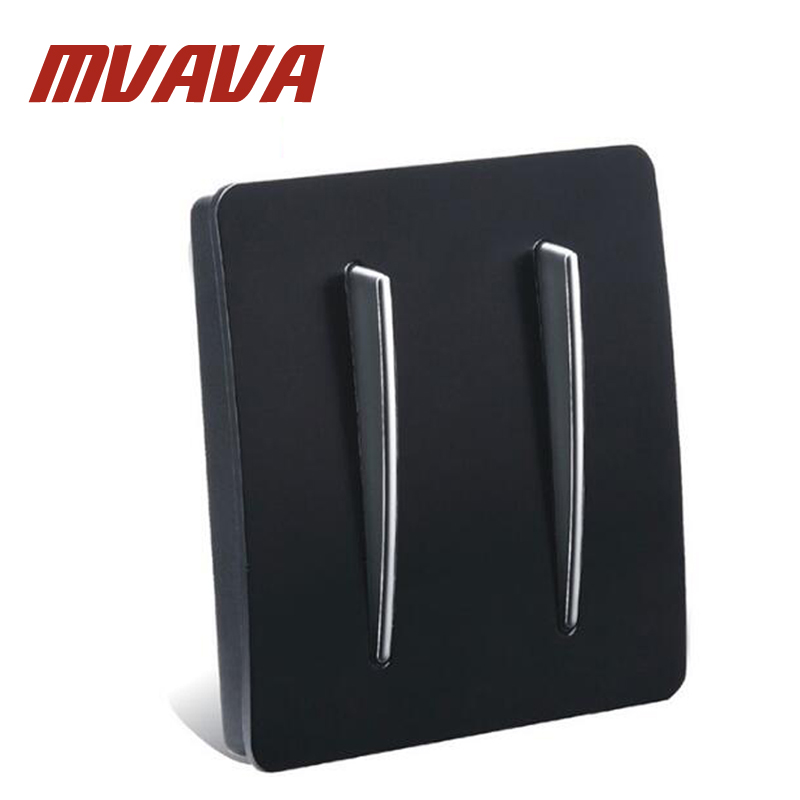 MVAVA 2 Gang 2 Way Light Wall Switch 16A AC100V-250V Light Control Wall Decorative Push Button Luxury PC Black Light Receptacle mvava insert hotel card electrical supply wall decorative socket card power receptacle luxury mirror black panel free shipping