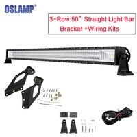Oslamp 3 ряд 50 ''светодиодный свет бар Offroad Combo Луч светодиодный свет работы бар с верхней лобовое стекло кронштейн для Chevrolet Silverado/GMC