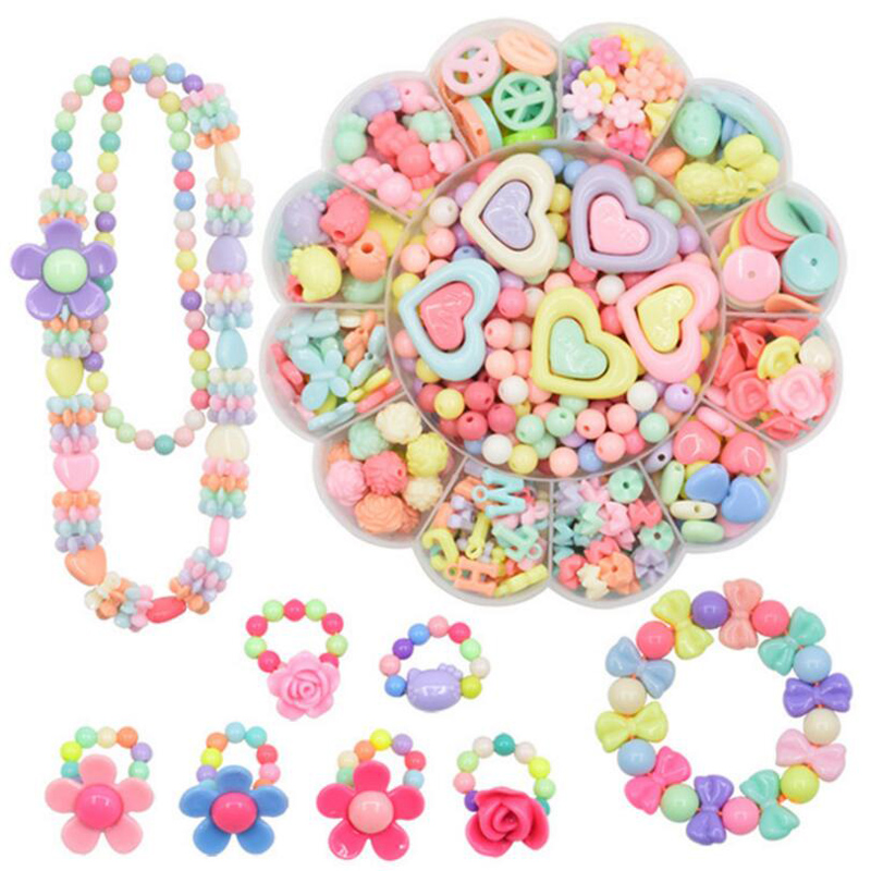 Box-packed Plastic Beads Educational Toys Jewelry Making Beads Toys Acrylic Bead Kit Accessories DIY Bracelects Toys Kids Beads3