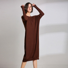 LHZSYY 2019Women's Spring New Large Size Long Solid color Wool Knit Dress Loose Retro O Neck High Waist Knit Wild Dress Sweater surplice high waist knit dress