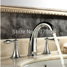 Dual Handles Widespread Mixer Faucet Chrome Finished Deck Mounted Basin Sink Faucets