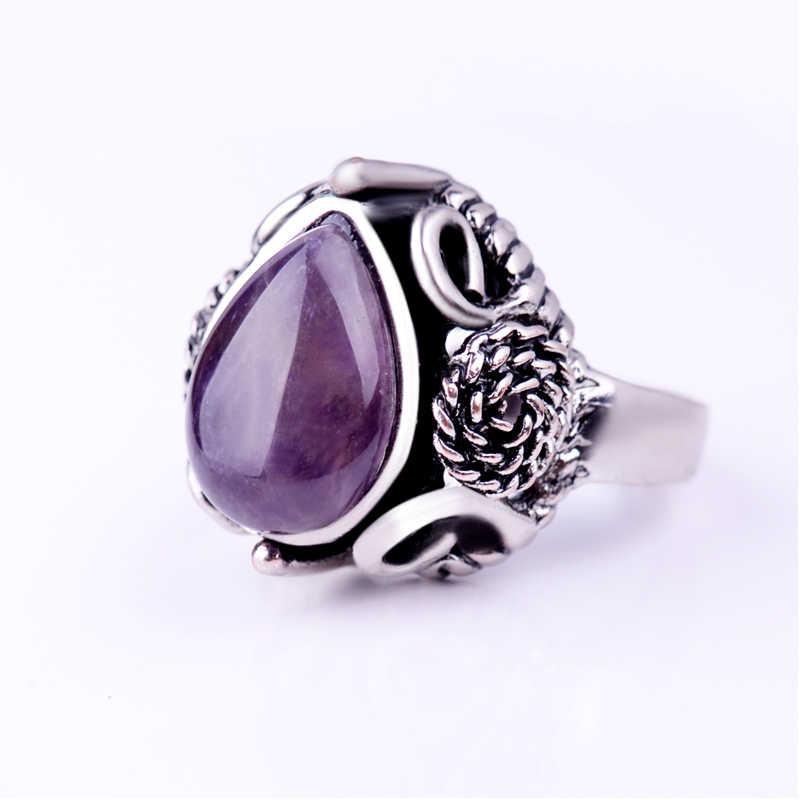 ผู้หญิงหินอเมทิสต์แหวนโบราณดอกไม้เงินสีม่วงน้ำ Drop - shaped อัญมณีการตั้งค่า Vintage แหวนเครื่องประดับ