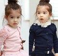 2017 roupas de primavera das crianças casacos meninas da moda babados de algodão de manga longa baby girl cardigan casacos para meninas crianças outerwear