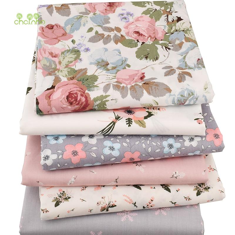 Chainho, 6 pçs/lote nova série floral sarja tecido de algodão, pano de retalhos, diy costura estofando quartos de gordura material para bebê & criança