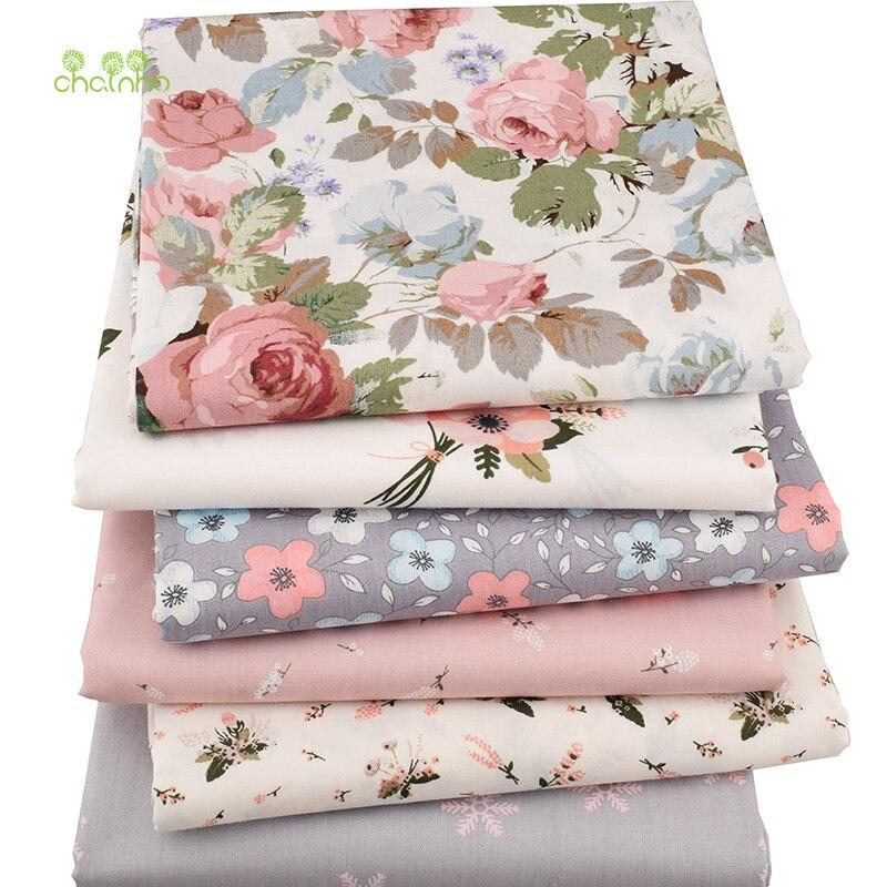 Chainho, 6 unids/lote nueva serie Floral sarga tela de algodón, tela de retazos, DIY costura acolchado Fat Quarters Material para Bebé y Niño