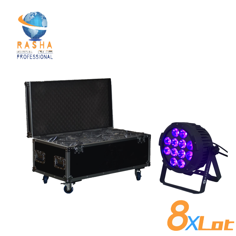8X Lot Fanless Rodie Hex with 6in1 RGBAW+UV color Led's Wireless IRC Remote LED Par Light With Powercon 8in1 Flight Case