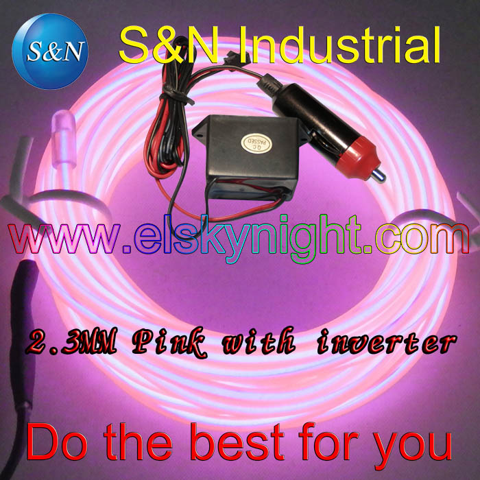 Pink 5M 12VDC Inverter With Ciggar Plug Neon Light EL Strip  Rope Tube With Controller For Car Decoration Free Shipping