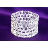 Wide Checked Stretch Bridal Rhinestone Bracelet CB917