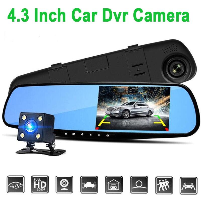 F12C Night Vision Vehicle Traveling Data Recorder Dual Lens 170-degree 1080P HD 5MP Car DVR 4.3-Inch Display Mirror Carcorder