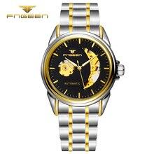 FNGEEN Homens Relógio de negócios de Moda homem de aço inoxidável relógio de pulso Automático Mecânico dos homens da qualidade superior famosa prova d' água do vintage