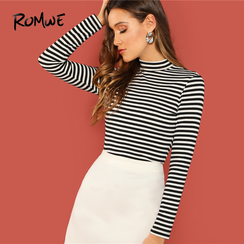 ROMWE Mock Neck Striped Rib Knit T-Shirt Black White Slim Fit Spring Autumn Women Tee Turtleneck Long Sleeve Casual T Shirt