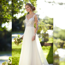 Wedding Dress 2016 Long Sleeve See Through Tulle Lace Corset A line Bridal Gown Factory Custom Make 2016 New Collection