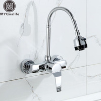 Wall Mounted Kitchen Dual Sprayer Faucet Chrome Flexible Hose Kitchen Mixer Taps