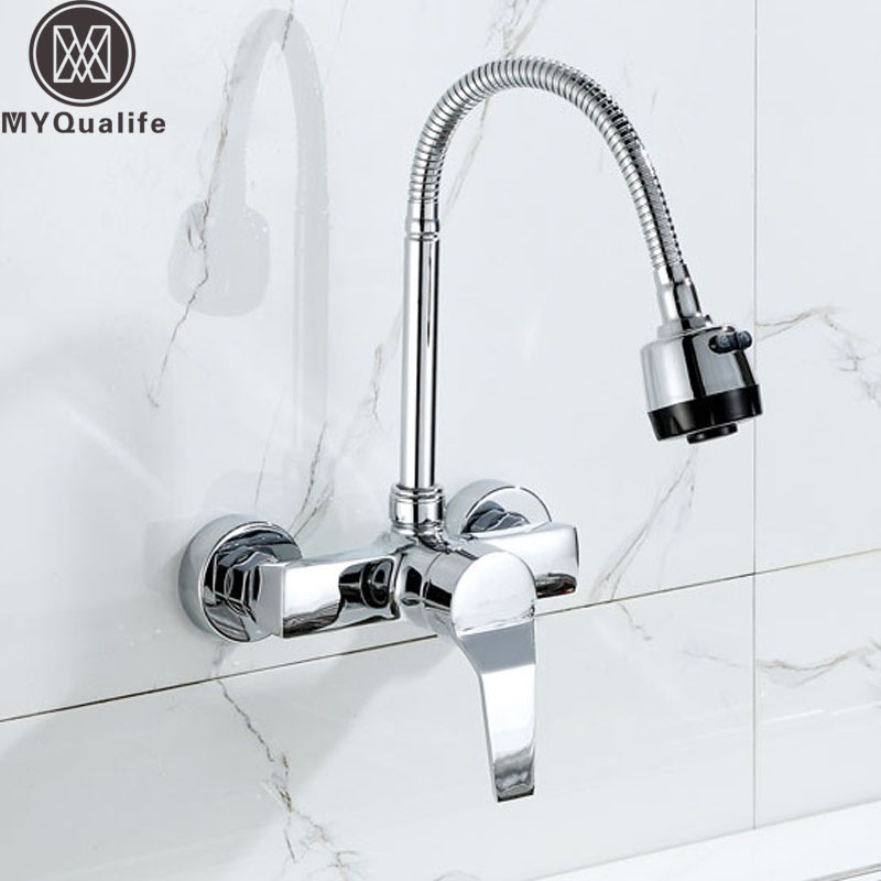Wall Mounted Stream Sprayer Kitchen Faucet Single Handle Chrome Flexible Hose Kitchen Mixer Taps Dual Holes