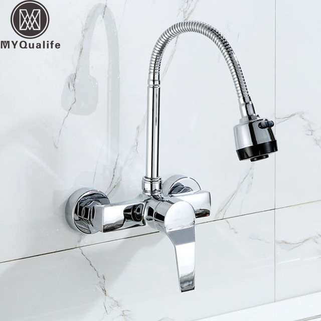Wall Mounted Stream Sprayer Kitchen Faucet Single Handle Chrome ...