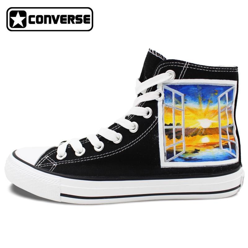 Prix pour Noir Converse All Star Au-delà de La Fenêtre Coucher Du Soleil Conception Originale Peinte à la main Top Unisexe Chaussures Femmes Hommes Sneakers Cadeaux