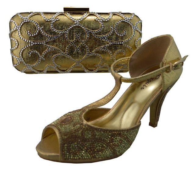 African Women Bags And Shoes For Wedding Heels Rhinestones Good Quality Gold Pumps Shoe Italian Shoes With Matching Bag 1308-L12