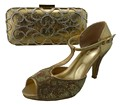 Bolsas de Las Mujeres africanas Y Zapatos De Boda Talones de los Rhinestones de Oro de Buena Calidad Bombas Zapato Zapatos Con Bolso A Juego Italiano 1308-L12