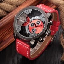 Oulm Top Luxury Brand Watches Men Leather Strap Big Dial Quartz Clock Male Watch Military Wrist Watch Relogio Masculino