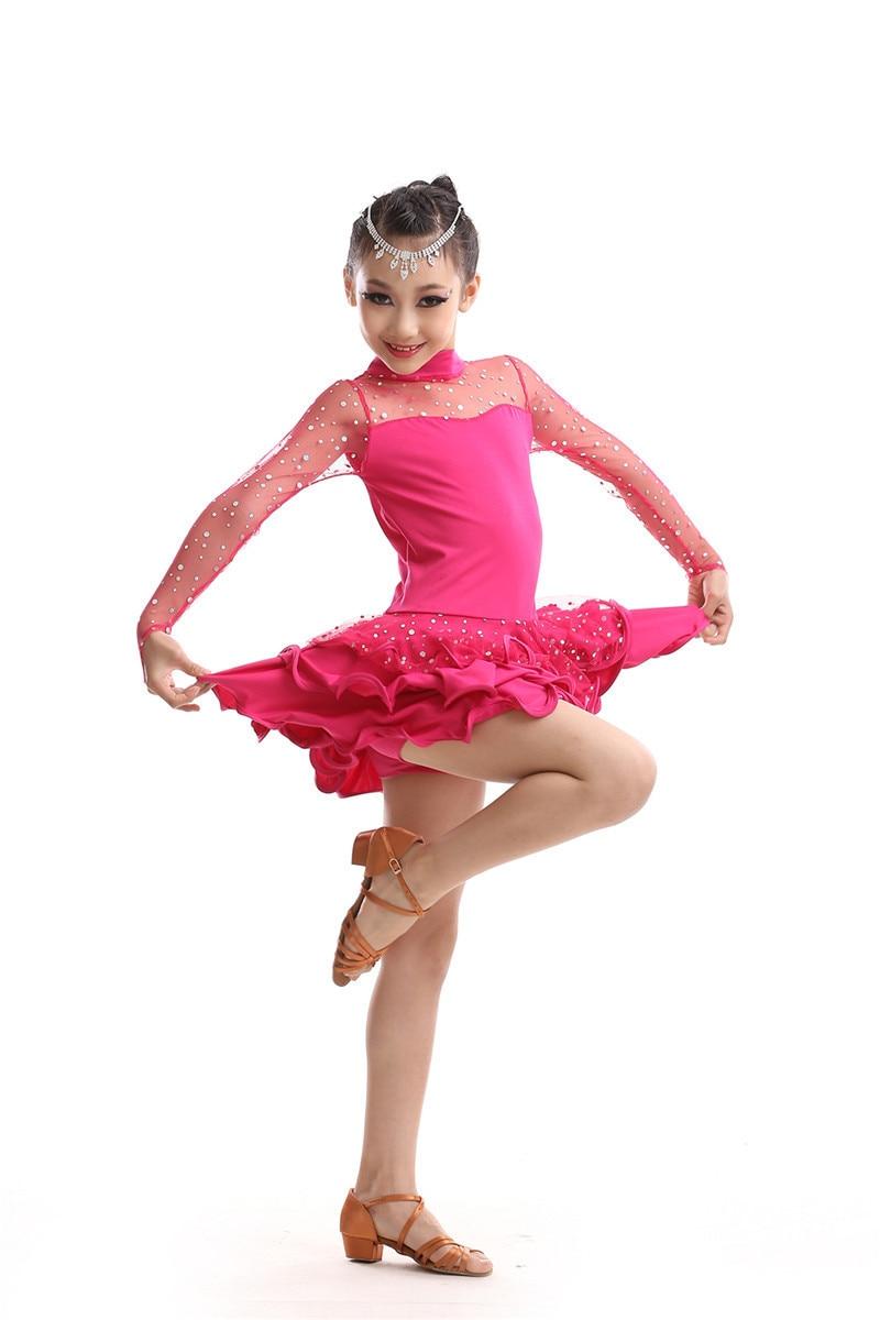 85-160cm Children Fancy Dress Latin Ballroom Dress Girls Salsa Dance Dress Saia Social Samba Costumes Red Latin Dancing Clothes