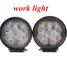 high quality 4inch 27W LED work light lamp round Flood beam   Off Road fog light ATV Tractor Train Bus Boat 4x4ATV