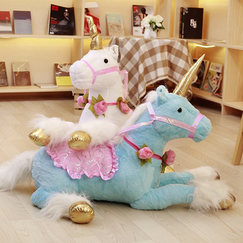90 cm géant taille Jumbo licorne en peluche jouets géant en peluche Animal doux poupée décor à la maison enfants Photo accessoires trois couleurs disponibles