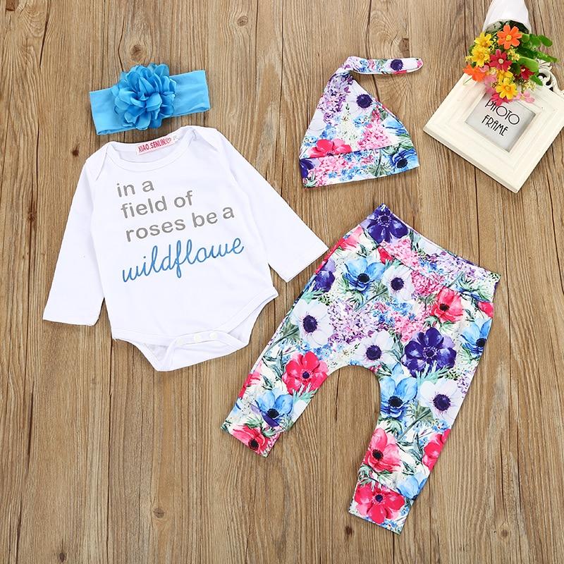 2018 Hot 4pcs Kids baby boys girls outfit sets Newborn baby Bodysuit +long Pants+Hat Rose orchid children boys girls clothes set