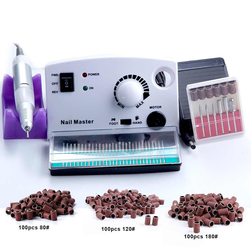 30000 RPM Électrique Nail Art Drill Machine Fraises 300 pcs Ponçage Ensemble Nail Forets Lime À Ongles Appareils pour manucure